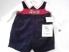 Hartstrings NWTBaby Boys Christmas Shortall Set Christmas Train  3-6 and 6-9 mo
