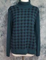 Barbour Womens sz 14 Green Black Geometric Long Sleeve Wool Turtleneck Sweater