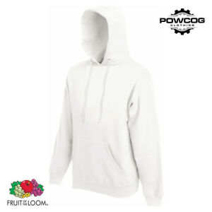 GENUINE FRUIT OF THE LOOM Classic Plain Hooded Sweatshirt Hoodie  20 COLOURS