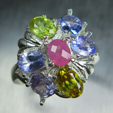 0.30cts Natural pink red spinel & tanzanite, sphene 925 sterling silver ring