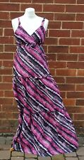 CHEROKEE Pink Black White Ladies Abstract Festival Maxi Dress UK 12 100% Cotton