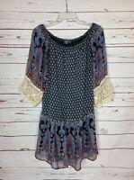 Umgee USA Boutique Women's M Medium Blue Boho Lace 3/4 Sleeves Cute Spring Dress