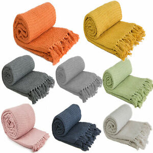 Large XL Plain Cotton Honeycomb Waffle Eco Recycled Blanket Chair Sofa Bed Throw
