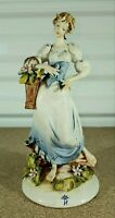 "Antique Capodimonte Quio Pezzoto Porcelain Figurine, Woman With Flower, 7.75"" H."