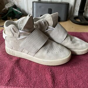 Adidas Size 8 Tubular Invader White Straps BB5038 Cool Suede Leather Uppers 5/16