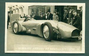 BLUEBIRD SPEED RECORD CAR ARRIVING AT BENTALLS 1932,vintage postcard