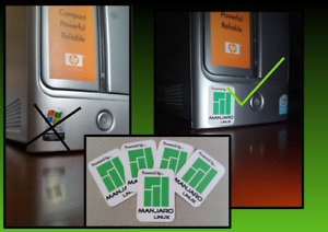 3x Manjaro Linux Desktop Computer / Laptop Badge Decal Vinyl Stickers 21x31mm