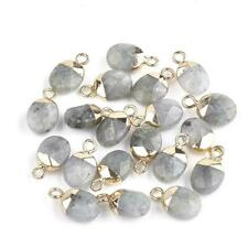 20pc Electro Plated Natural Labradorite Charm Faceted Oval Gold Pendant Gemstone