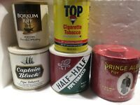 lot (5) captain black Top prince albert half and half pipe tobacco can sealed