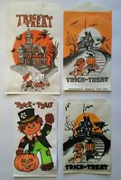 Vintage Halloween Trick Or Treat Candy Bags Haunted Houses Scarecrow Goblins