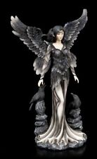 Große Gothic Engel Figur - Andra mit Raben - Fantasy Engel Skulptur Statue