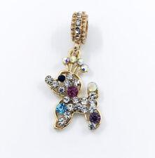 Crystal Dog European Gold Pendant CZ Charm Beads Fit Necklace Bracelet DIY