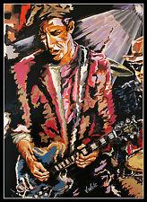 Keith Richards Lithografie von Volker Welz signiert Gitarre Rolling Stones AK