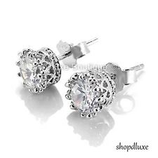 1.65 CT ROUND CUT CZ .925 STERLING SILVER 6MM CROWN SET FASHION STUD EARRINGS