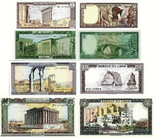 LIBANO - Lebanon Lot Lotto 4 banconote 1/5/10/50 Livres FDS - UNC