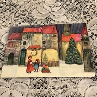 Vintage Greeting Card Christmas Storefront Town Store People
