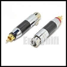 2x XLR Female to RCA Male Socket Adapter Gold Balanced Cable Plug Phono