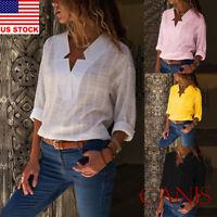 US Women's Casual V-Neck Long Sleeve Blouse Chiffon Shirts Tops Loose T-Shirts