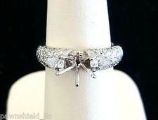 Solid Platinum Semi Mount Ring Set With 1.12 TCW All Natural Diamond F-G VS1