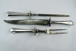 LARGE Fairfax by Gorham Sterling Silver 3 Pc.Carving Fork Knife Steel Rod Set