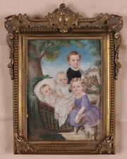 "Woldemar Hau-Attrib.""Children Group Portrait"", Russian large miniature, ca.1850"