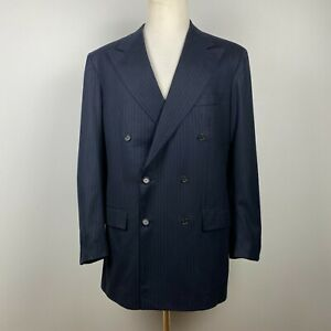 Kiton 14 Micron Blanc Blu Super 180s Double-Breasted Suit 42 L w/ 36 x 31 Pants