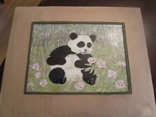Panda Bear Porcelain Tile PAINTING FRAMED WITH CERTIFICATE OF AUTHENTICITY