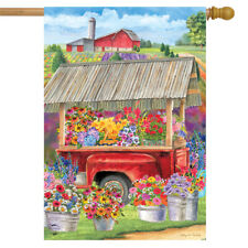 "New listing Spring Farm Floral House Flag Flower Cart 28"" x 40"" Briarwood Lane"