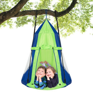 "40"" Kids Hanging Chair Swing Tent Set Hammock Nest Pod Seat Green"