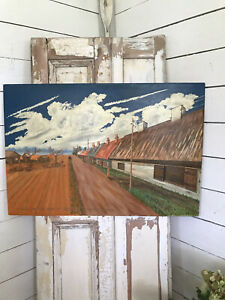 VERY LARGE Original MID CENTURY Painting LANDSCAPE RURAL Signed