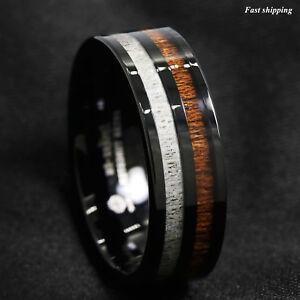 8mm Black Tungsten Carbide Ring Deer Antler and Koa Wood Inlay ATOP Wedding Band