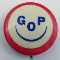 Vintage GOP Pinbacks Button Smiley Face Political