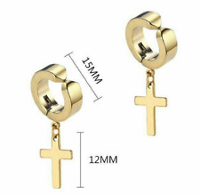 Earrings Non-Piercing Stainless Steel Cross Clip on Men Women Dangle Hoop NEW