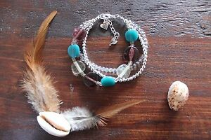 Stunning Handmade Clear, Purple & Aqua Glass Beaded 3 Layer Heart Charm Bracelet