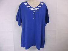 Women's 4XL (30W-32W) American Sweetheart Blue Short Sleeve Henley NEW