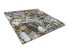 "18"" x18"" Sale Online Handmade Black Agate Cafeteriya Table Top Home Decoration"