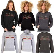 Ladies Womens Guilty Sweat shirt Designer Inspired Slogan Print Hoodie Top new
