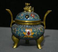 "6"" Old Chinese Bronze Gild Cloisonne Pixiu Beast 3 Foot incense burner Censer"