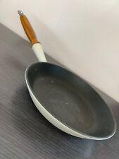 Vintage Le Creuset White Cast Iron Wooden Handle Frying Pan 23cm