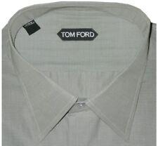 $640 NEW TOM FORD SAGE GREEN PLAIN WEAVE HAND MADE DRESS SHIRT EU 42 16.5