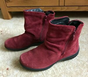 Hotter Whisper STD Flat Ankle Boots Burgundy UK size 4 Suede