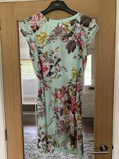 Joules Mint Green Floral Sleeveless Dress Size 12 UK