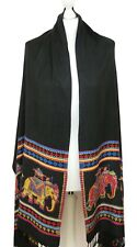 Indian Wedding Bride Palenquin Black Shawl Scarf Oversize Wrap Self Print Dancer
