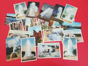 Vintage Lot  Of 20 Yellowstone National Park Linen Postcards - Unposted