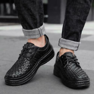 Mens Faux Leather Slip On Oxfords Business Casual Weave Office Lace Up Shoes Sz