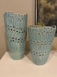 Qty 2 Teal Green Decorative Art Home Decor Modern Vases Ceramic Pottery
