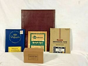 4 PACKAGES, VINTAGE DARKROOM PHOTOGRAPHIC PRINTING PAPER. 1940s & 1950s.