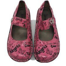 Alegria Paloma Happy Pink Ribbon Breast Cancer Mary Jane Clogs 36