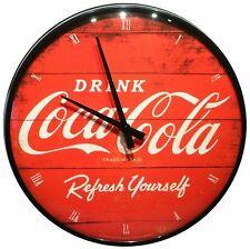 Coca Cola red Nostalgie ∅ 31 cm Echtglas Wanduhr Blech Uhr 36