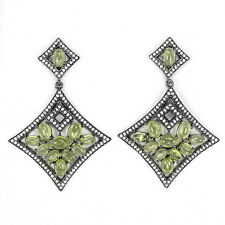 Peridot Cab Dangle/Drop  Black Earrings Solid Sterling Silver 92.5